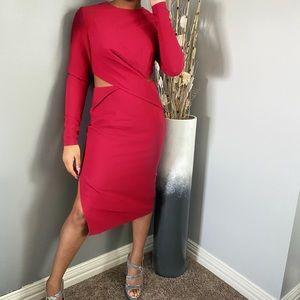 Finders Keepers CutOut Midi Dress Raspberry